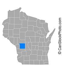 Map of Monroe in Wisconsin