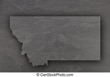 Map of Montana on dark slate