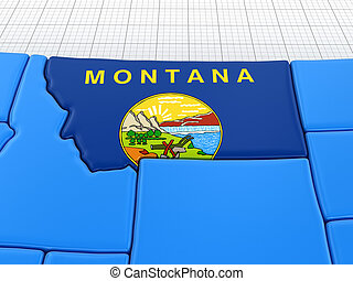Map of Montana state with flag