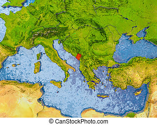 Map of Montenegro - Montenegro in red on realistic map with...