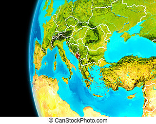 Map of Montenegro in red - Montenegro as seen from Earths...