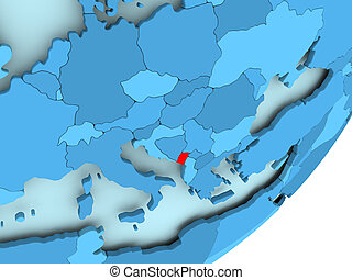 Map of Montenegro on blue political globe - Montenegro in...