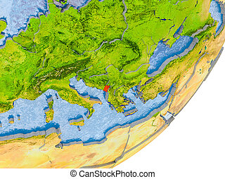 Map of Montenegro on Earth - 3D render of Montenegro on...