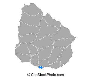 Map of Montevideo in Uruguay