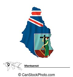 Map of Montserrat with flag