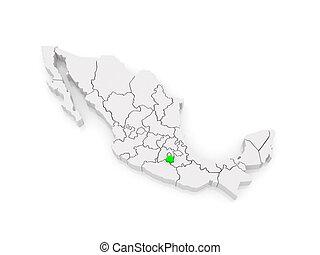 Map of Morelos. Mexico.