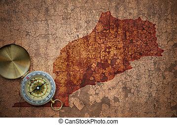 map of morocco on a old vintage crack paper