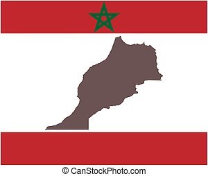 Map of Morocco on background with flag