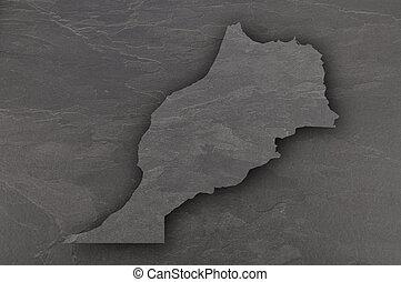 Map of Morocco on dark slate