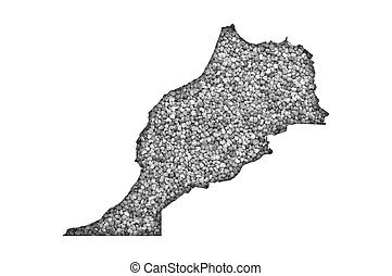 Map of Morocco on poppy seeds