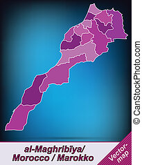 Map of Morocco with borders in violet