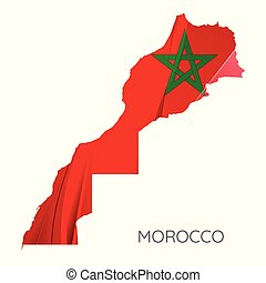 Map Of Morocco With Flag, Vector Illustration