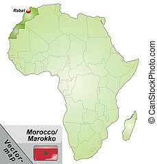Map of morocco with main cities in green.