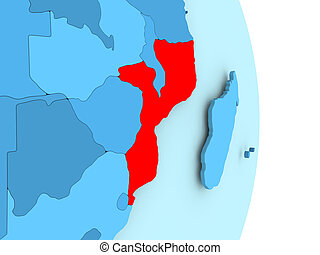Map of Mozambique in red