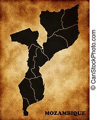 Map of Mozambique in the old style