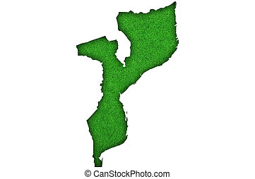 Map of Mozambique on green felt