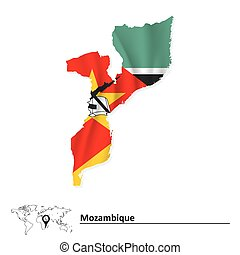 Map of Mozambique with flag