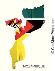 Map Of Mozambique With Flag, Vector Illustration