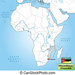 Map Of Mozambique Vector Illustration