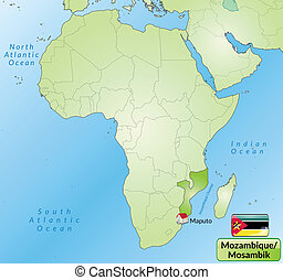 Map Of Mozambique With Named Provinces Vector Map Of Mozambique