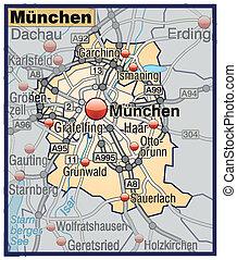 Map of Munich with highways in pastel orange