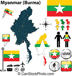 Vector of Myanmar set with detailed country shape with region borders, flags and icons
