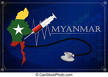 Map of Myanmar with Stethoscope and syringe.