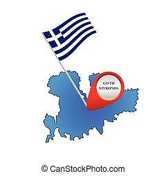 map of mykonos greece color vector