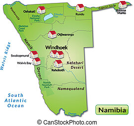 Map of Namibia as an infographic in green