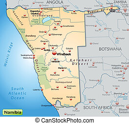 Map of Namibia as an overview map in pastel orange