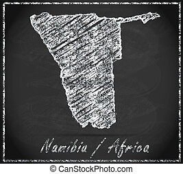 Map of Namibia as chalkboard in Black and White