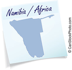 Map of Namibia as sticky note