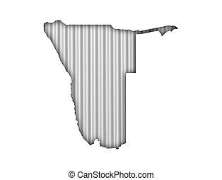 Map of Namibia on corrugated iron