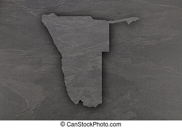 Map of Namibia on dark slate