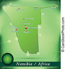 Map of Namibia with abstract background in green