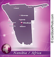 Map of Namibia with abstract background in violet