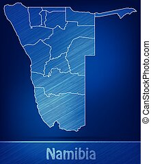 Map of Namibia with borders as scrible