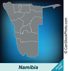 Map of Namibia with borders in bright gray