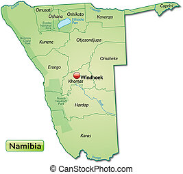 Map of Namibia with borders in pastel green