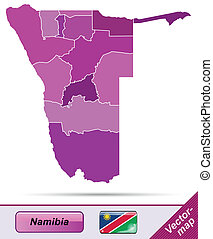 Map of Namibia with borders in violet
