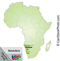 Map of Namibia with main cities in green