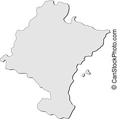 Map of Navarre (Spain) - Map of Navarre, a region of Spain.