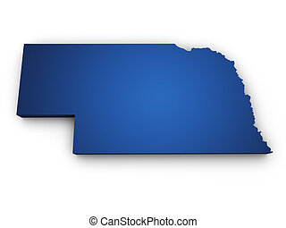 Shape 3d of Nebraska map colored in blue and isolated on white background.