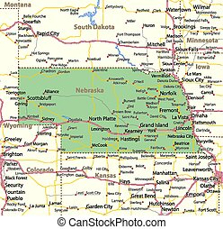 Map of Nebraska. Shows state borders, urban areas, place names, roads and highways. Projection: Mercator.