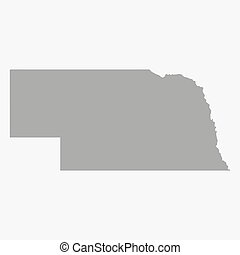 Map of Nebraska State in gray on a white background