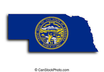 Map of Nebraska filled with the state flag