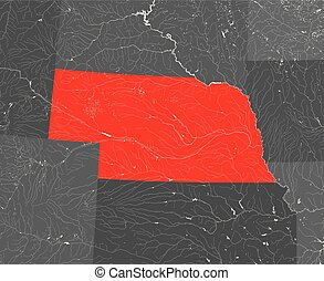 Map of Nebraska with lakes and rivers. - U.S. states - map ...