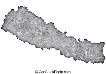 Map of Nepal on weathered concrete