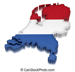 Map of Netherlands. 3d render Image. Image with clipping path