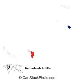 Map of Netherlands Antilles with flag - vector illustration